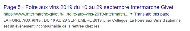 Googling Intermarche wine fair dates