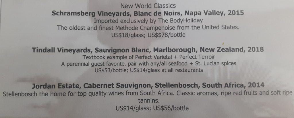 New World wine list