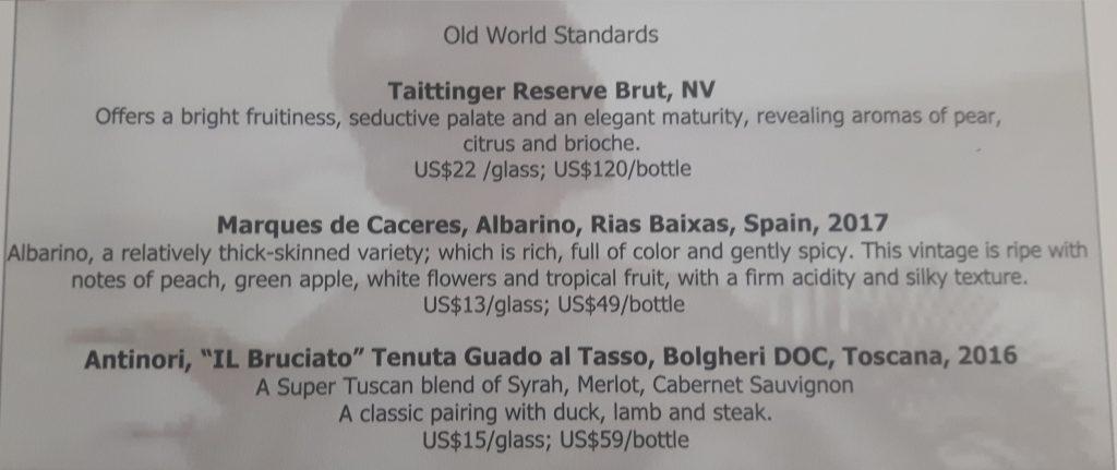 Old World wine list